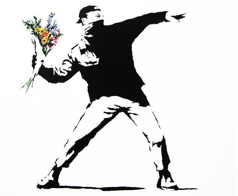 Banksy-Flower-Thrower-Graffiti