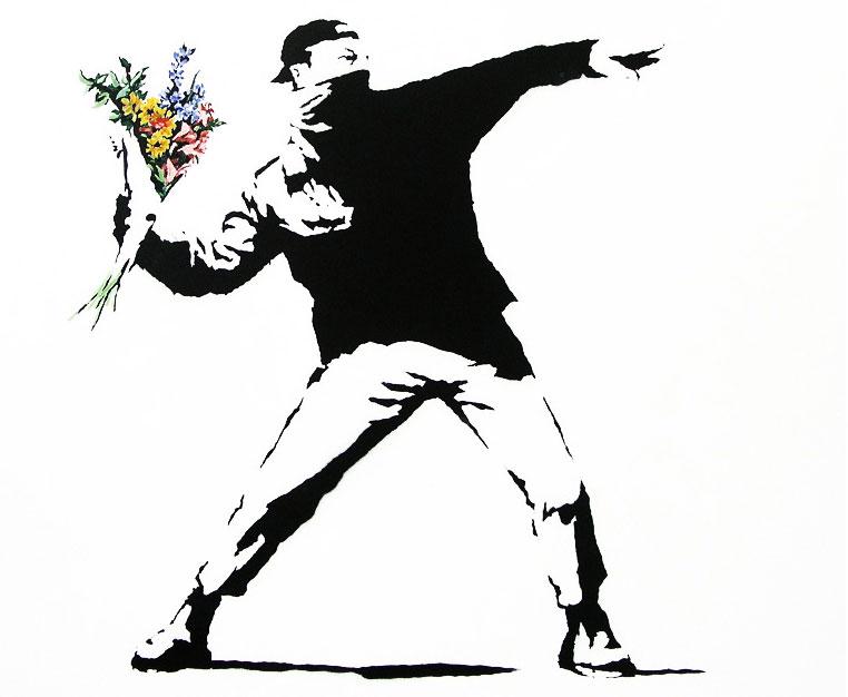 Banksy-Flower-Thrower-Graffiti
